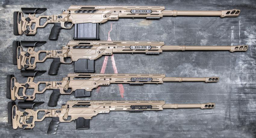 Линейка винтовок Cadex Defence. Снизу вверх: CDX-30 Guardian Lite, CDX-33 Patriot Lite, CDX-40 Shadow, CDX-50 Tremor