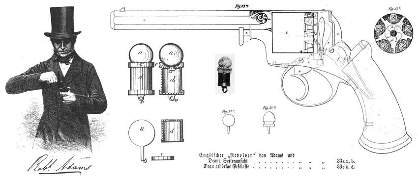 Капсюльный револьвер системы Роберта Адамса двойного действия. В центре— рисунок не-унитарного патрона с металлической гильзой из патента Адамса