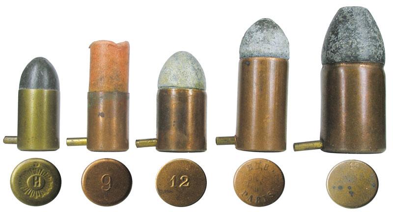Патроны кревольверам Лефоше различных калибров: от «шумового» калибра 2мм, до карабинного патрона калибра 15мм