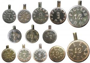 Варианты маркировок на гильзах системы Лефоше, выпущенных патронными компаниями Российской империи