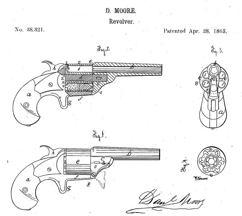 Рисунок из патента Дэниела Мура на револьвер и патрон типа teat-fire (US Patent №38321 от 28 апреля 1863 г.)