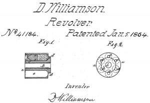 Рисунок из патента Дэвида Вилльямсона на барабан к револьверу под патроны типа teat-fire (US Patent №41184 от 5 января 1864 г.)