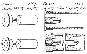 Конструкция гильзы Потте (французские патенты №3930 от1829 г. и№12746 от1855 г.)