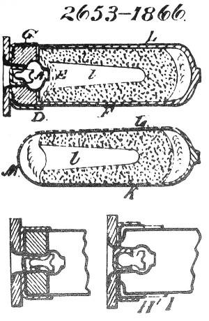 Рисунок патрона игильзы из английского патента №2653 (1866г.) Эдварда Боксера