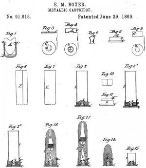 Рисунок из патента США № 91818 (1869 г.) напатроны ссоставными гильзами центрального воспламенения