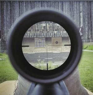 Вид на мишень через оптический прицел Blaser Infinity 4-20x58 IC (дистанция 300 м). В мишенном листе хорошо видны отверстия от 6,5-мм пуль
