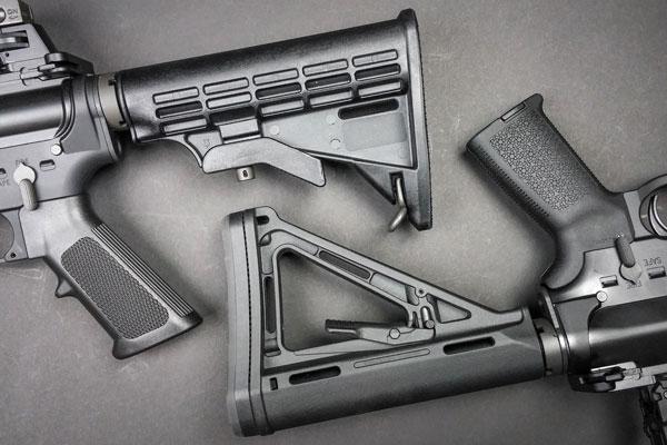 Штатные приклады и пистолетные рукоятки AR-15 не отличаются особым удобством, и большинство стрелков в первую очередь заменяют их на улучшенные — например, производства Magpul
