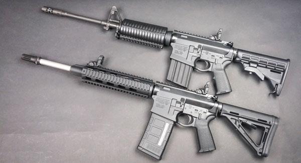 Наиболее популярные модели второго поколения платформы AR-10 от DPMS: карабины G2 AP4 (вверху) и G2 Recon выглядят и ощущаются в руках, как обычные AR-15, но рассчитаны на .308-й калибр