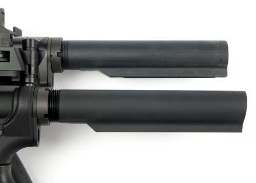 Даже карабинные трубы приклада могут отличаться: милспек (вверху) и коммерческий вариант