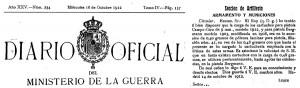 Фрагмент Официального бюллетеня №234 Военного Министерство Испании 14 октября 1912 г. с указанием об уменьшении заряда пороха No.41 для патронов к пистолету Campo-Giro с 0,48г до 0,40 г