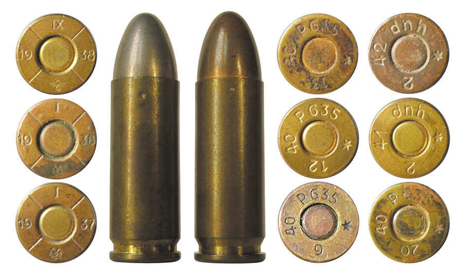 9x25 Mauser австрийского и немецкого производствапроизводства периода Гражданской войны; 2-4 — боевые патроны испанского производства; 5 — испанский учебный патрон
