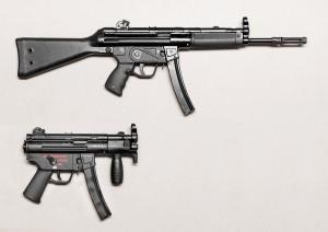 Т94 А2(общая длина— 810 мм, длина ствола— 270 мм) и MP5-KA4 (общая длина 320 мм, длина ствола— 115 мм); общая база— разные задачи