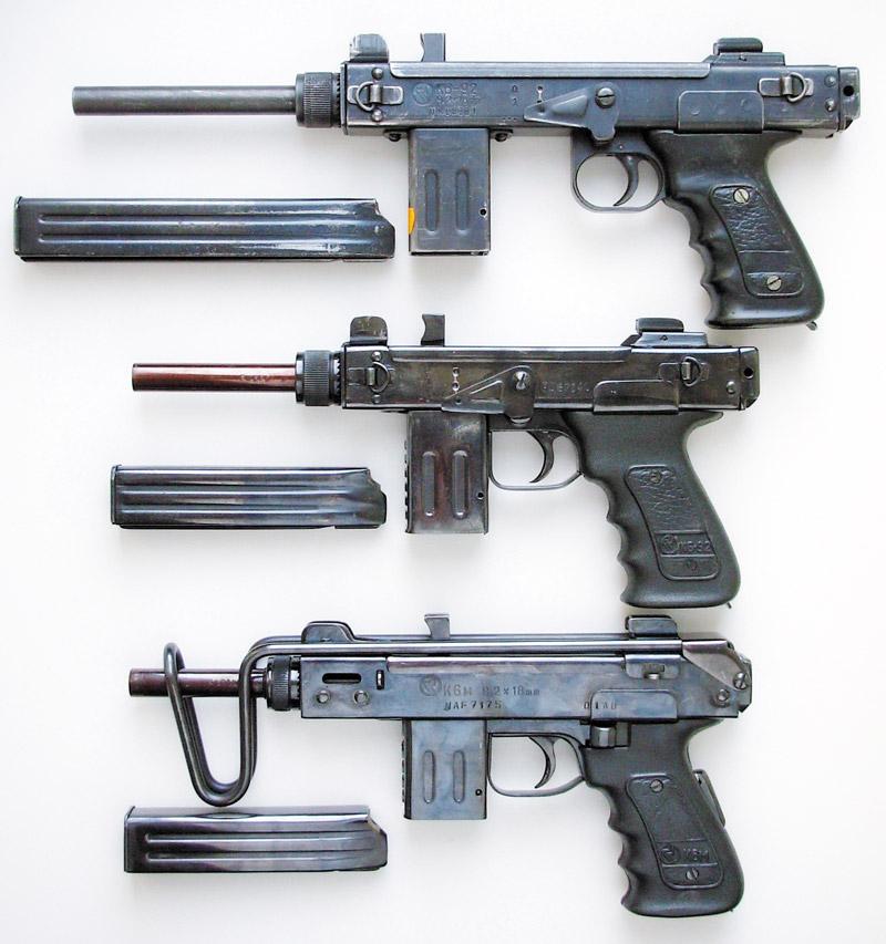 ПП К6-92 и укороченный К6-92 со снятыми прикладами, ПП К6м (сверху вниз)
