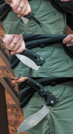 Извлечение ножа. Пластина на клинке цепляется за край кармана, и нож без усилий оказывается в руке уже раскрытым