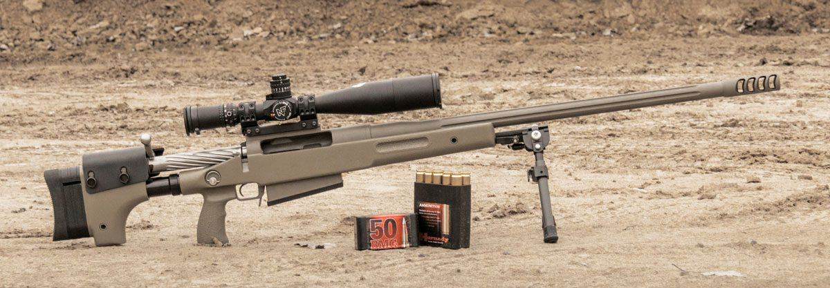 Снайперский комплекс McMillan TAC-50 A1R2 с прицелом Nightforce B.E.A.S.T. 5-25x56 F1 и патронами Hornady Match .50 BMG с пулей A-Max