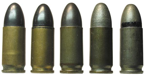 Патроны с пулями m.E. и SE: 1,2— патроны 08 m.E. в латунной гильзе; 2— патрон 08 m.E. для тропиков; 3— патрон 08 m.E. со стальной лакированной гильзой; 4— патрон с пулей SE, патрон с пулей SE для тропиков