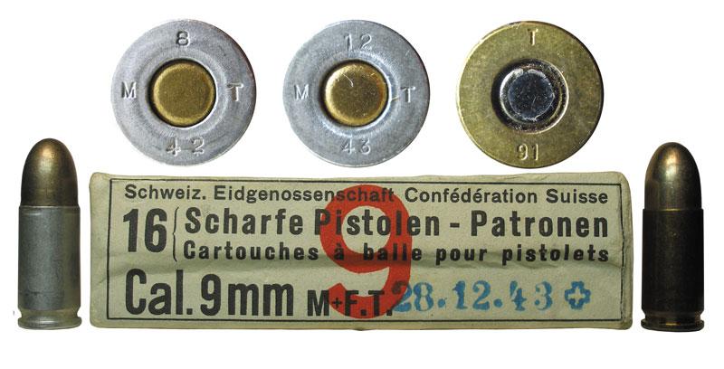 Швейцарские патроны 9х19. Левый патрон снаряжен в алюминиевую гильзу марки Avional