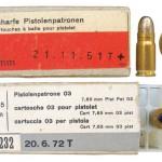 Упаковка швейцарских патронов 7,65х21 Luger