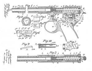 Конструктивная схема пистолета Frommer М1901 (US Patent № 802 279)