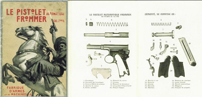 Рисунок из инструкции к пистолету Frommer M1910 с деталировкой. Хорошо виден магазин пистолета «борхардтовского» типа