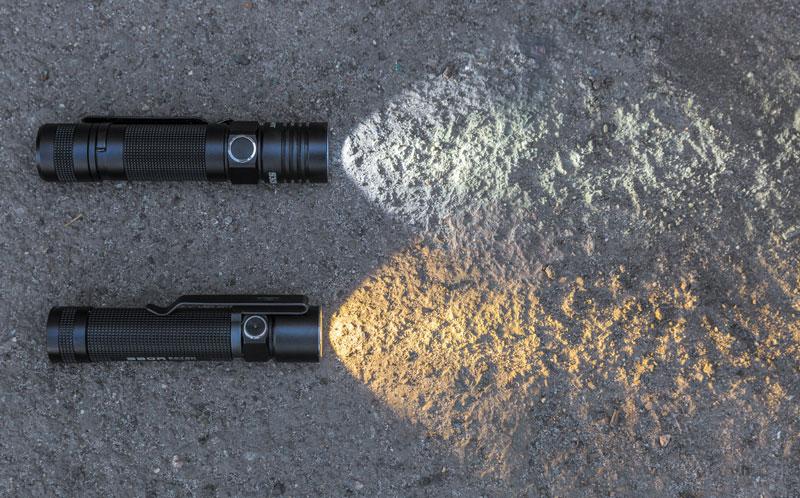 Холодный (вверху) и теплый (внизу) свет. Первый хорош для «дальнобоев» и «тактиков», а второй — для карманных (EDC) фонарей