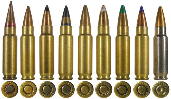 Линейка бельгийских патронов 5,7х28: 1— досерийный патрон с пулей SS-90; 2-4— патроны с пулей со стальным сердечником SS-190 (варианты 3 и 4 предназначались для американского рынка и обозначались как «бронебойные»); 5 и 7— патроны с пулей SS-192 типа Hollow Point (№7— для американского рынка); 6— патрон с дозвуковой пулей SS-193; 8— спортивный патрон SS197SR (sporting round) с пулей Hornady V-Max; 10— учебный патрон