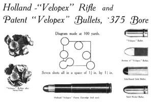 Реклама патрона .375 Velopex в фирменном каталоге фирмы Holland & Holland Ltd за 1910 г.