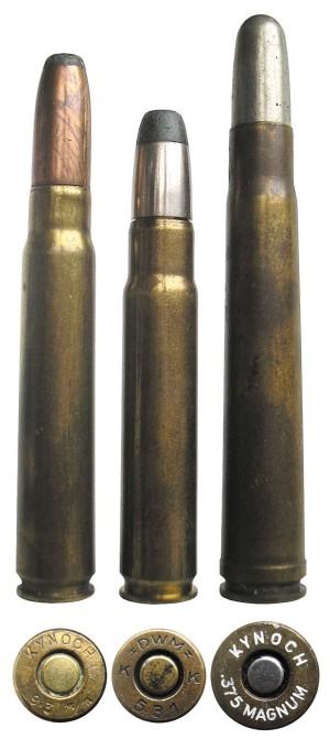 Участники соревнования «универсальных» патронов начала ХХвека: 9,3х62 Mauser (слева), 9,5x56 Mannlicher-Schoenauer (в центре), .375 Holland & Holland Magnum Belted (справа)