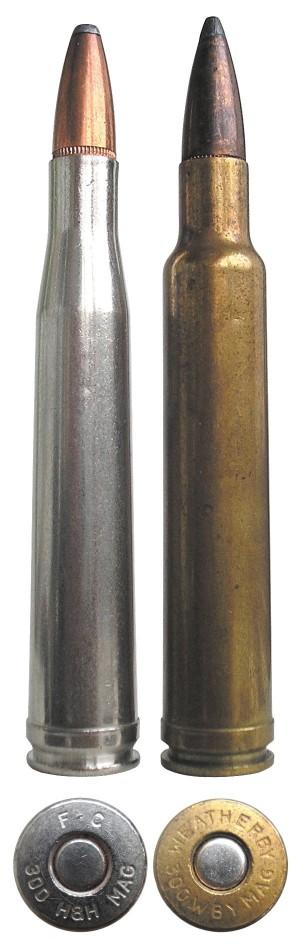 «Родственники» в 300-м калибре: .300 Holland & Holland Magnum Belted (слева) и .300 Weatherby Magnum (справа)
