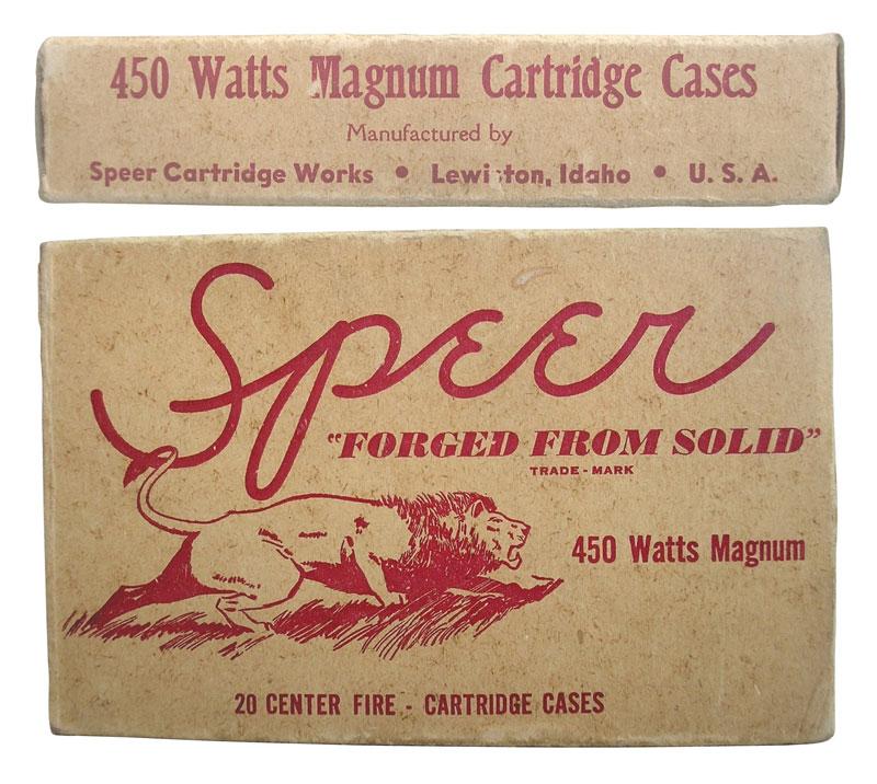 Патрон .450 Watts Magnum (11,6x71,2) был разработан Джеймсом Ваттсом (James Watts) при помощи своего друга Харви Андерсона (Harvey Anderson) в 1949 г. на базе гильзы .375 Holland & Holland Magnum Belted. Он по праву считается «дедушкой» африканских 450-х магнумов, таких как .458 Lott, .450 Ackley, .450 Mashburn Magnum и .450 Barnes Supreme. Вариант патрона Джеймса Ваттса с укороченной гильзой был использован компанией Winchester при создании .458 Winchester Magnum. Рой Уэзерби неодобрительно отзывался о разработках крупнокалиберных патронов. В самом конце 1949 г. он сказал Джеймсу Ваттсу: «Мистер Ваттс, я знаю, что вы любите большие калибры — так же, как Элмер Кейт, — но их скорость убийственна. Они не имеют ничего, кроме скорости!» Но вскоре ему пришлось разработать свой .460 Weatherby Magnum