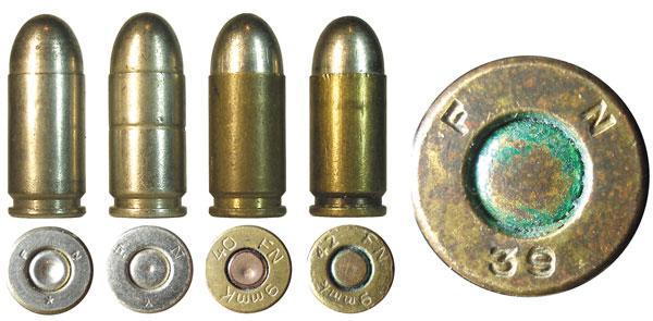 Патроны калибра 9х17 Browning, изготовленные бельгийской фирмой Fabrique Nationale до и во время Второй Мировой войны