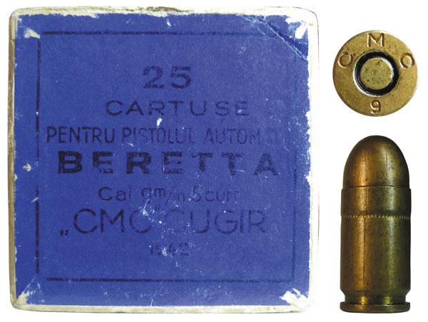 Румынский патрон 9mm Browning Short, изготовленный румынской компанией Uzinale Metalurgica di Copsa Mica si Cugir из г. Куджир. Шрифт маркировки «СМС» на гильзе отличается от стандартного шрифта этого производителя. Возможно, патрон или его гильза были выпущены одним из итальянских производителей по заказу румынской компании Copsa Mica si Cugir в период до 1944 г.