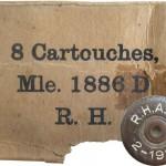 Образец упаковки и маркировки патронов 8x50R Lebel, изготовленных во время Первой мировой войны американской компанией Remington Arms Union metallic cartridge company, UMC Swanton Works в г. Свантоне, штат Вермонт