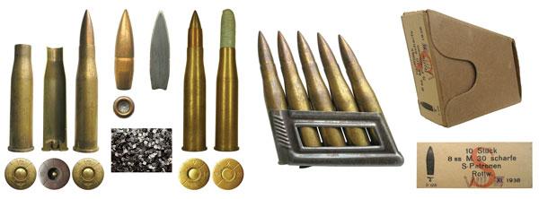 Австрийские патроны 8х56R Mannlicher: общий вид гильзы и ее разрез, патрон с обычной пулей 8 mm M.30 scharfe S-Patrone, общий вид и разрез обычной пули, пластинчатый порох Pulver M.30, целевой практический патрон 8 mm M.30 Scheibenpatrone, холостой патрон 8 mm M.30 Exerzierpatrone, обойма с 5патронами и общий вид картонной пачки Karton M.30