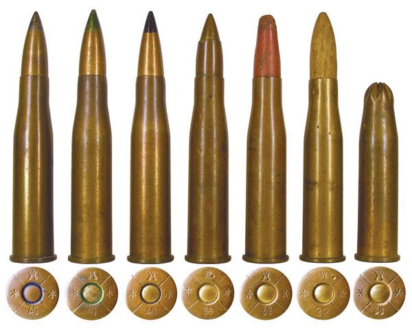 Специальные и вспомогательные венгерские боеприпасы 31М: 1 — с бронебойной пулей; 2 — с бронебойно-трассирующей пулей; 3 — с пристрелочной пулей; 4 — целевой патрон; 5 — холостой патрон с бумажной пулей; 6 — холостой патрон с деревянной пулей; 7 — холостой патрон производства киностудии им. Довженко