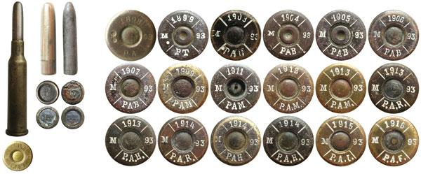 Общий вид патрона, пули и свинцового сердечника патронов 6,5х54R Mannlicher румынского производства. Судя по маркировке на донной части пуль, румыны снаряжали свои патроны пулями собственного производства, а также — австро-венгерскими и немецкими пулями. Справа — варианты маркировки на румынских патронах 6,5х54R