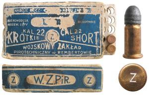 Польский патрон .22 Short, изготовленный фабрикой Wojskowy zaklad pirotechniczny в г. Рембертуве (с 1957 г. включен в состав Варшавы)