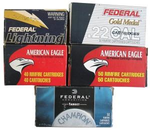 Варианты картонных коробок на 40 и 50 патронов .22LR производства Federal Cartridge Co, г. Анока, США