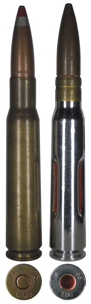 Английские патроны: пристрелочно-трассирующий L11A2 (слева) и учебный L1A1 (справа)