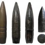 Пули 12,7 мм ДШК: общий вид и разрез бронебойно-зажигательной пули Б-32 (слева), разрез и сердечник бронебойно-зажигательно-фосфорной пули БЗФ-46