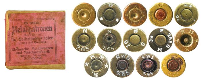 Упаковка немецких патронов компании RWS до 1918 года выпуска и клейма различных немецких компаний периода 1900-1930 гг.