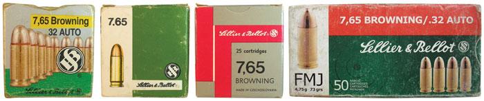 Упаковка послевоенных 7,65-мм патронов чешской компании Sellier & Bellot