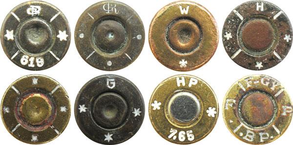 Клейма на патронах 7,65мм, изготовленных в бывшей Австро-Венгрии: GR (монограмма) — G. Roth AG (Австро-Венгрия), W — Munitionsfabrik Wollersdorf (Австро-Венгрия), Н — Hirtenberger Patronenfabrik AG (Австро-Венгрия), G — Gustloff-Werke — Otto Eberhardt Patronenfabrik (Австрия во время оккупации), НР— Hirtenberger AG (Австрия), F-GY — Fegyverger Es Gepygar Raszvenytarsasag (Венгрия)