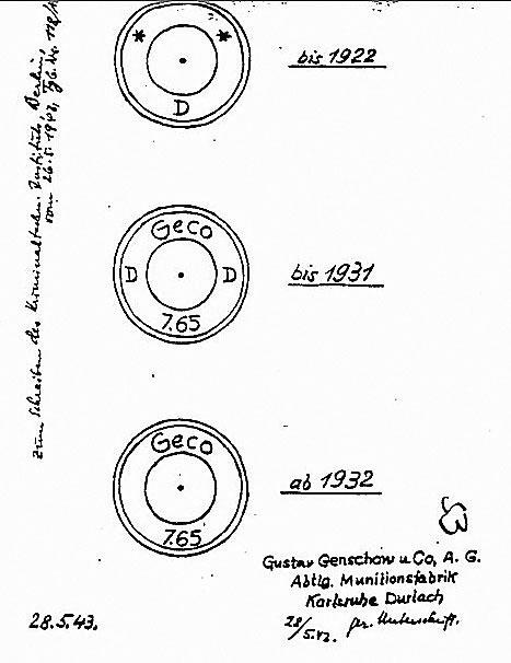 Изображение клеймения «гековских» гильз из отчета немецкой комиссии расследования Катыньской трагедии