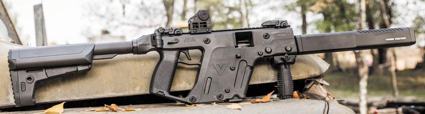 Охотничий карабин KRISS Vector CRB: общая масса оружия с прицельными приспособлениями Magpul MBUS — 3,765 кг (без магазина и коллиматора Shield SIS)