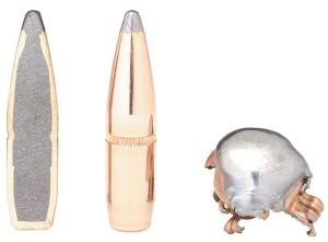 Пуля InterLock Soft Point (слева направо) — вразрезе, впервозданной крaсоте и после попадания в цель