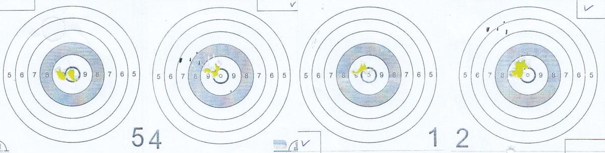 Результаты контрольного отстрела Cometa Orion (дистанция — 25 м, пуля JSB Heavy); в каждой мишени от 5 до 8 пуль