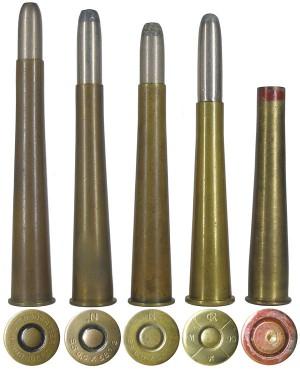 Семейство «зауэров»: 1 — патрон 6,5х65R; 2, 3 — патроны 6,5х58R; 4 — кустарный патрон 6,5x58R, полученный путем обжима из гильзы патрона 6,5х54R «маннлихер»; 5 — кустарная гильза 6,5х58R, выточенная из цельного латунного прутка, капсюль «жевело» (милицейский конфискат)