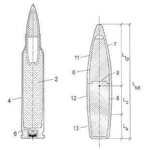 Эскиз патрона и пули с коротким бронебойным сердечником типа Power Ball (US Patent 2015/0144019 от28.05.2015 г.)