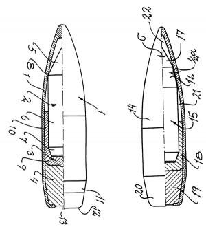 Варианты бронебойных пуль, разработанные компанией Nammo Vanäsverken AB (US Patent 6286433 от 11.09.2001 г.)